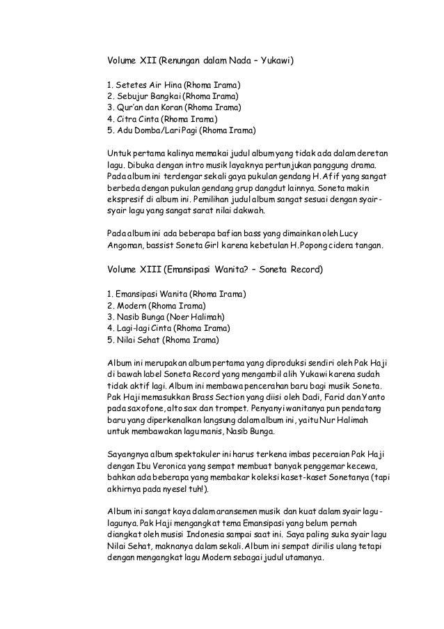 Daftar Lagu Lengkap Rhoma Irama (Album, STF, Lain2)