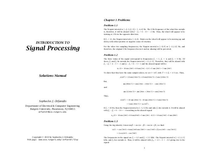 introduction to signal processing orfanidis solution manual rh slideshare net Math Solution Manual Textbook Solution Manuals