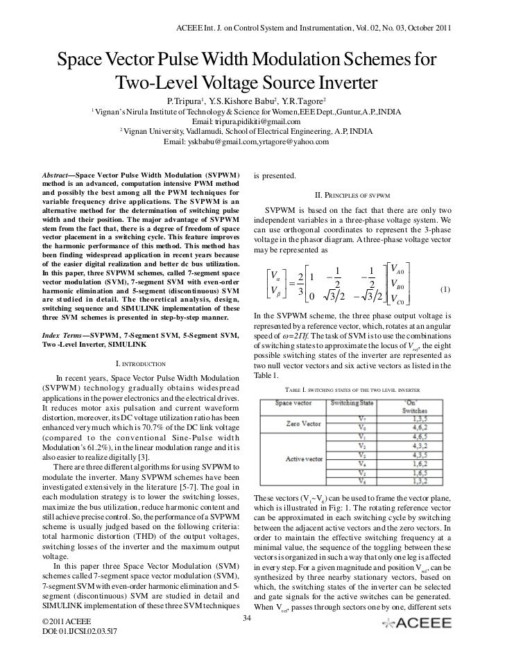 ACEEE Int. J. on Control System and Instrumentation, Vol. 02, No. 03, October 2011    Space Vector Pulse Width Modulation ...