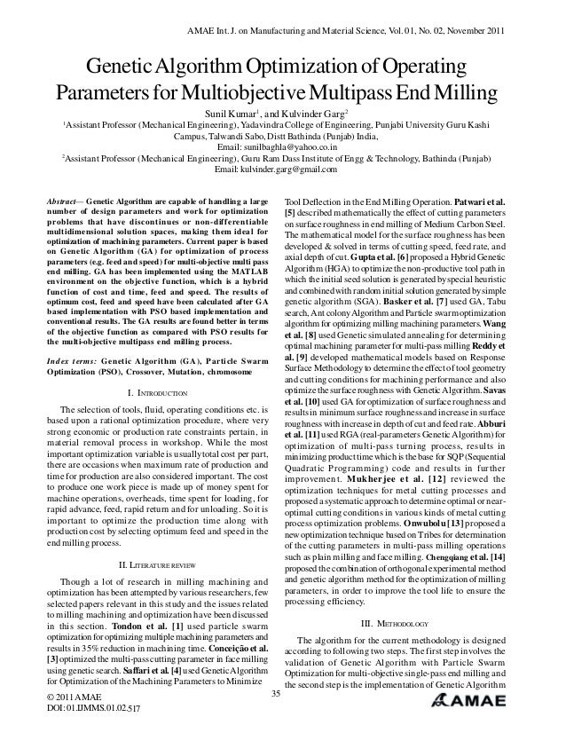 AMAE Int. J. on Manufacturing and Material Science, Vol. 01, No. 02, November 2011  Genetic Algorithm Optimization of Oper...