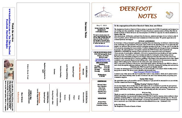 DEERFOOTDEERFOOTDEERFOOTDEERFOOT NOTESNOTESNOTESNOTES May 17, 2020 WELCOME TO THE DEERFOOT CONGREGATION We want to extend ...