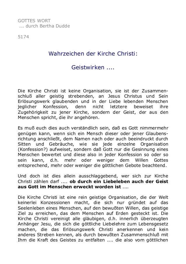 GOTTES WORT ... durch Bertha Dudde 5174 Wahrzeichen der Kirche Christi: Geistwirken .... Die Kirche Christi ist keine Orga...