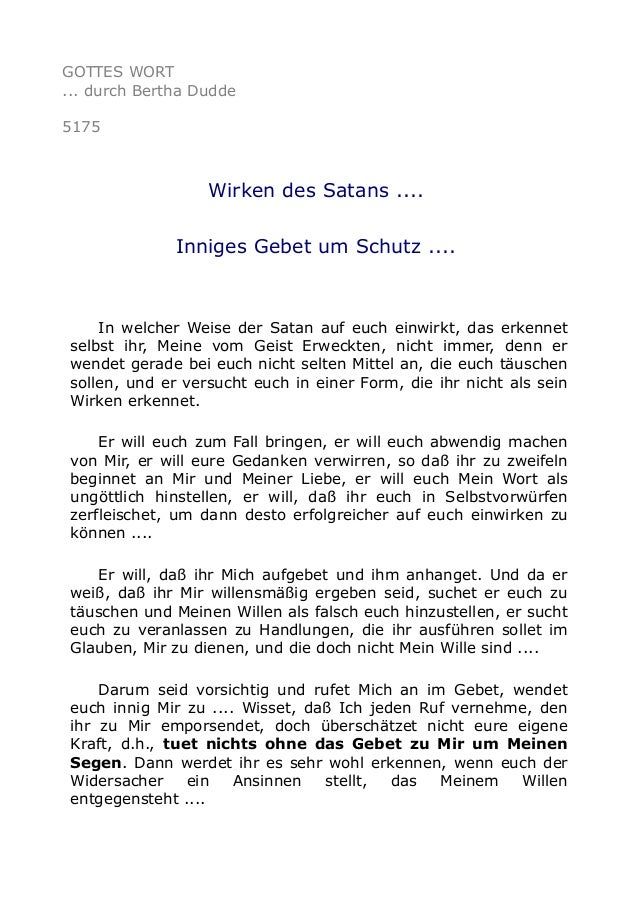 GOTTES WORT ... durch Bertha Dudde 5175 Wirken des Satans .... Inniges Gebet um Schutz .... In welcher Weise der Satan auf...