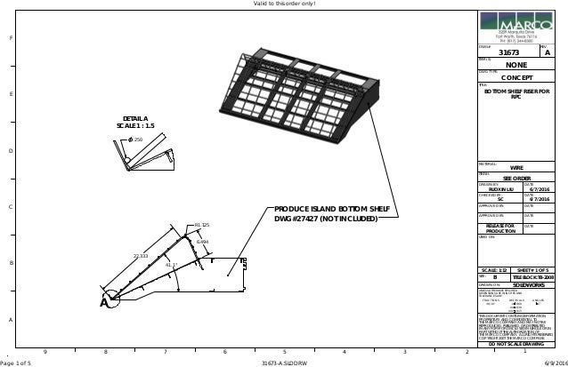 "PRODUCE ISLAND BOTTOM SHELF DWG#27427 (NOT INCLUDED) MATERIAL: FINISH: ±1/16"" .060 .XXX .015 DO NOT SCALE DRAWING COPYRIGH..."