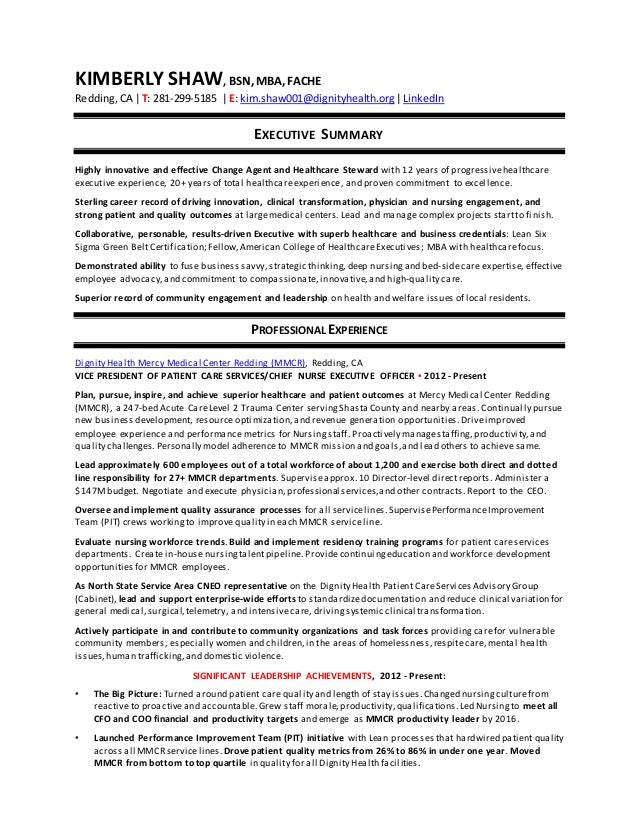 Shaw Kimberlygenericexecutive Resumeseptember 28 2016revised