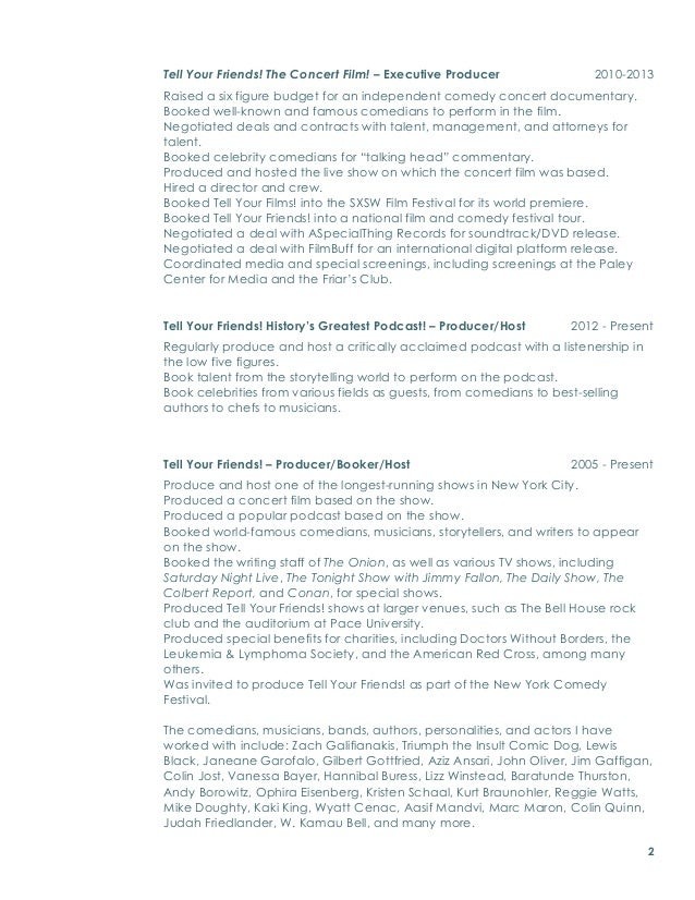 Theater Resume Training Education  Producer Resume