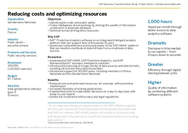    SAP Business Transformation Study Public Sector Gendarmerie Nationale Reducing costs and optimizing resources Organizat...