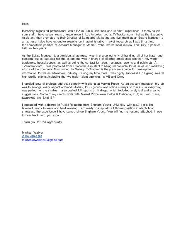 Michael Walker\'s Cover Letter