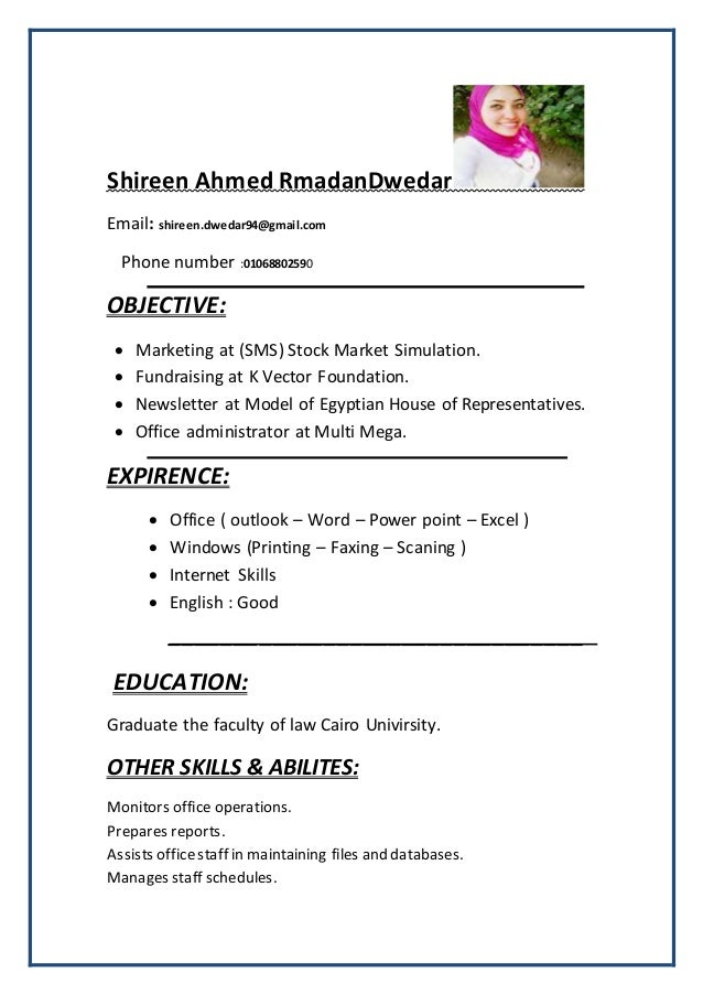DwedarShireen Ahmed Rmadan shireen.dwedar94@gmail.com:Email Phone number :01068802590 OBJECTIVE:  Marketing at (SMS) Stoc...