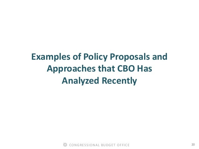 20CONGRESSIONAL BUDGET OFFICE Examples of Policy Proposals and Approaches that CBO Has Analyzed Recently
