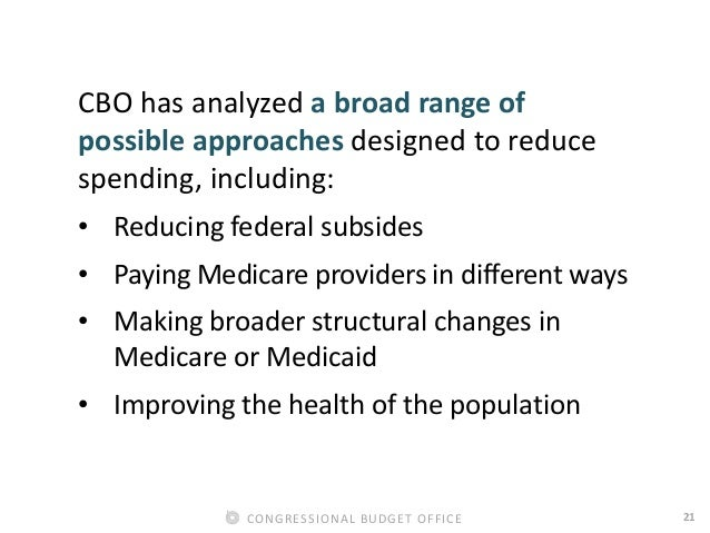 21CONGRESSIONAL BUDGET OFFICE CBO has analyzed a broad range of possible approaches designed to reduce spending, including...