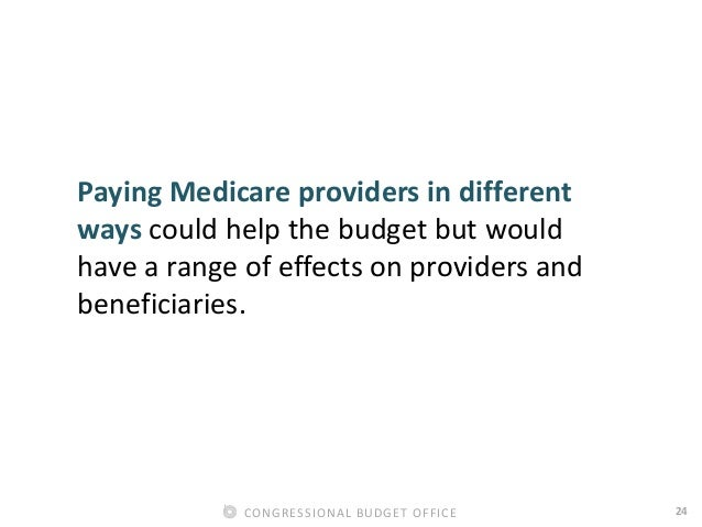 24CONGRESSIONAL BUDGET OFFICE Paying Medicare providers in different ways could help the budget but would have a range of ...