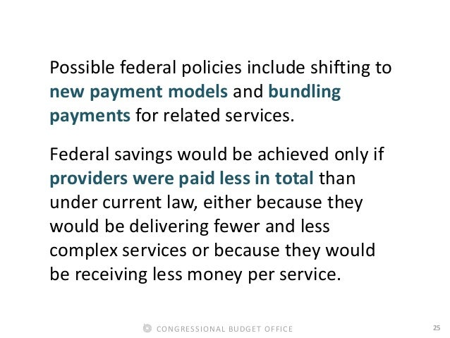 25CONGRESSIONAL BUDGET OFFICE Possible federal policies include shifting to new payment models and bundling payments for r...