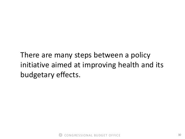 30CONGRESSIONAL BUDGET OFFICE There are many steps between a policy initiative aimed at improving health and its budgetary...