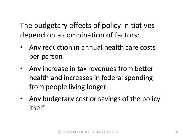 32CONGRESSIONAL BUDGET OFFICE The budgetary effects of policy initiatives depend on a combination of factors: • Any reduct...