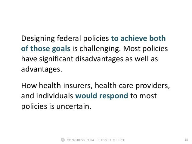 35CONGRESSIONAL BUDGET OFFICE Designing federal policies to achieve both of those goals is challenging. Most policies have...