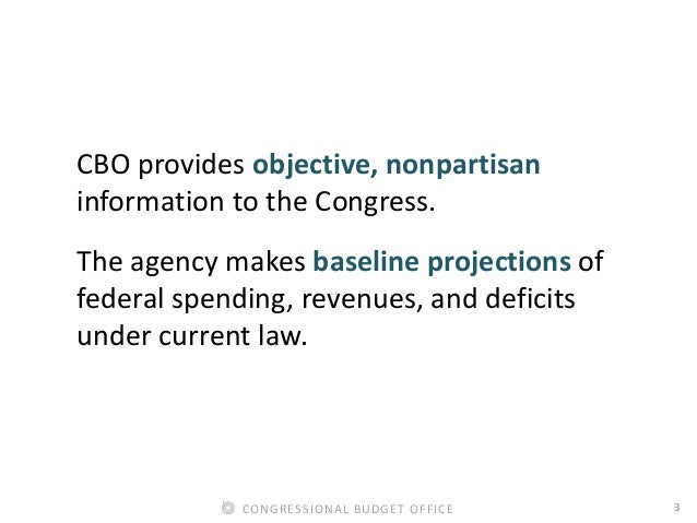 3CONGRESSIONAL BUDGET OFFICE CBO provides objective, nonpartisan information to the Congress. The agency makes baseline pr...