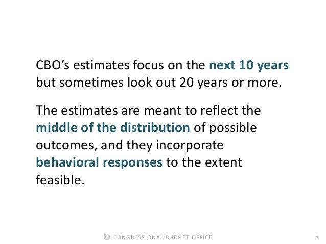 5CONGRESSIONAL BUDGET OFFICE CBO's estimates focus on the next 10 years but sometimes look out 20 years or more. The estim...