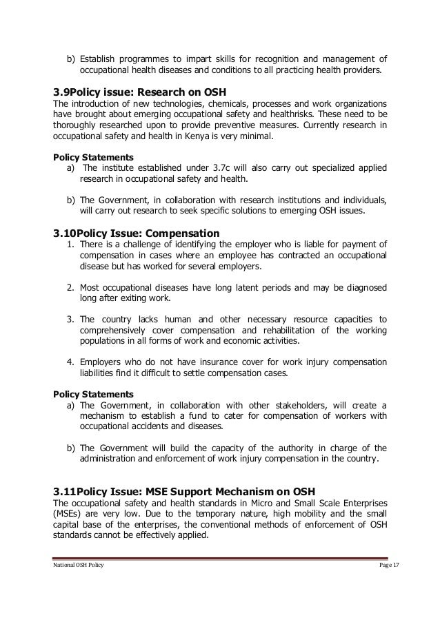 osh policy The purposes of this memorandum are to reiterate osha's policy that employee training required by osha standards must be presented in a manner that employees can understand, and to provide enforcement guidance to the area and regional offices relative to the agency's training standards.