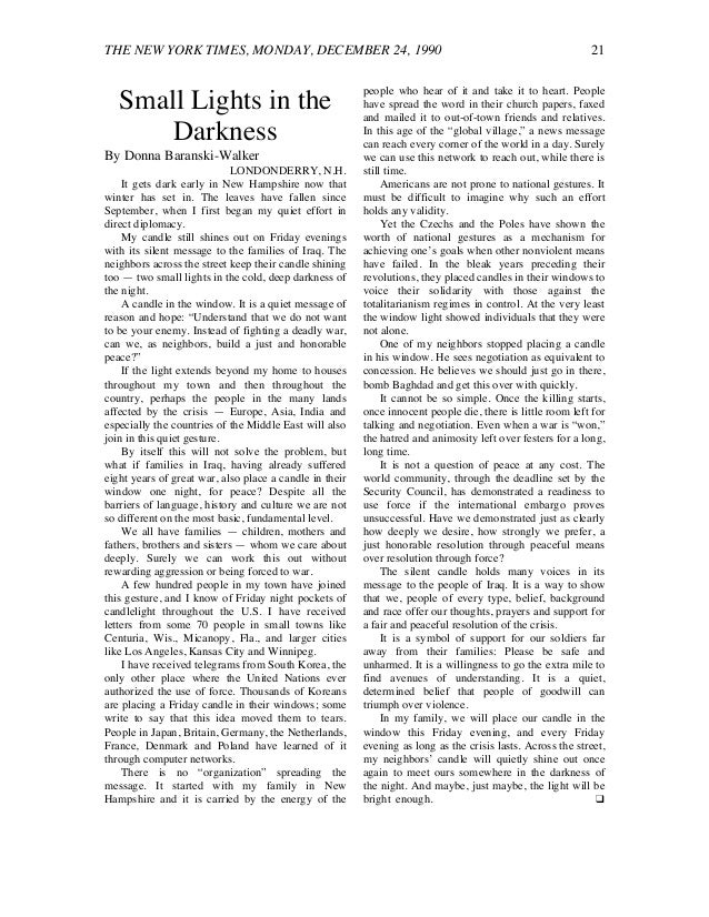 THE NEW YORK TIMES, MONDAY, DECEMBER 24, 1990 21 Small Lights in the Darkness By Donna Baranski-Walker LONDONDERRY, N.H. I...