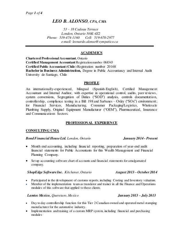Certified Management Accountant Resume] Certified Management ...