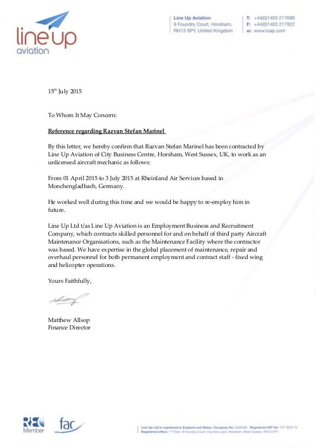 Razvan Marinel Letter Of Recommendation