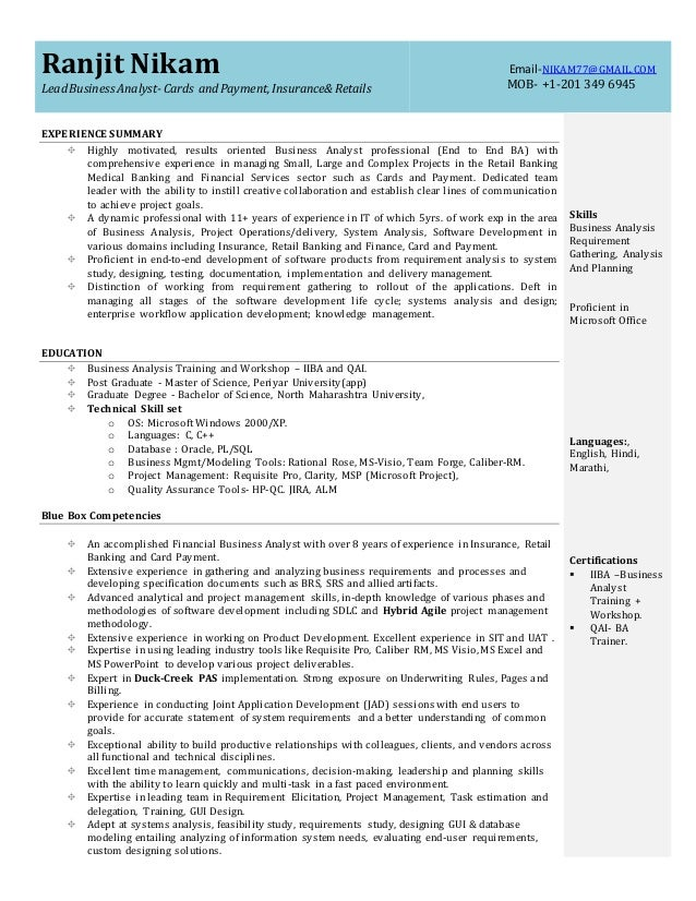 business analyst resume for investment banking domain