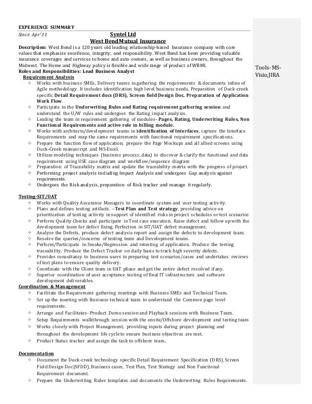 qai ba trainer 2 - It Business Analyst Resume Sample