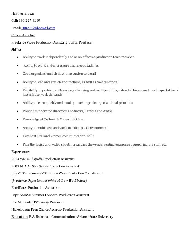 Heather Brown Video Production Resume