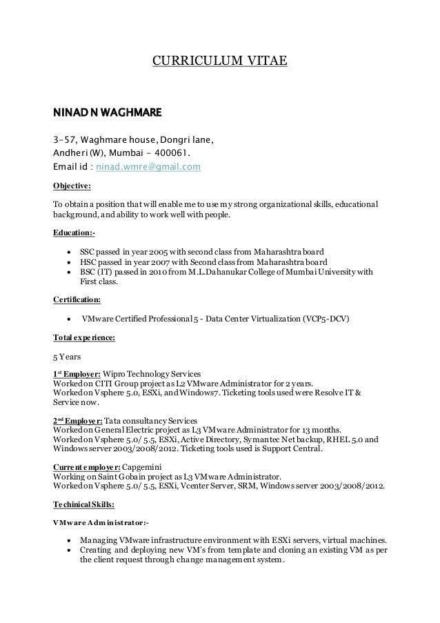 Vmware Resume Ninad