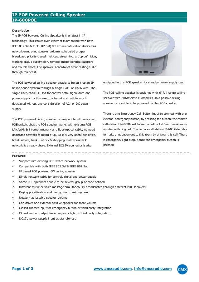 IP-600POE IP VOIP POE Ceiling Speaker