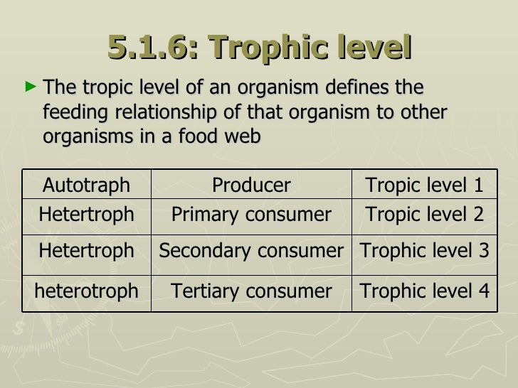 5.1.6: Trophic level <ul><li>The tropic level of an organism defines the feeding relationship of that organism to other or...