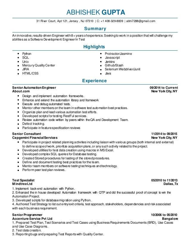 sdet resume