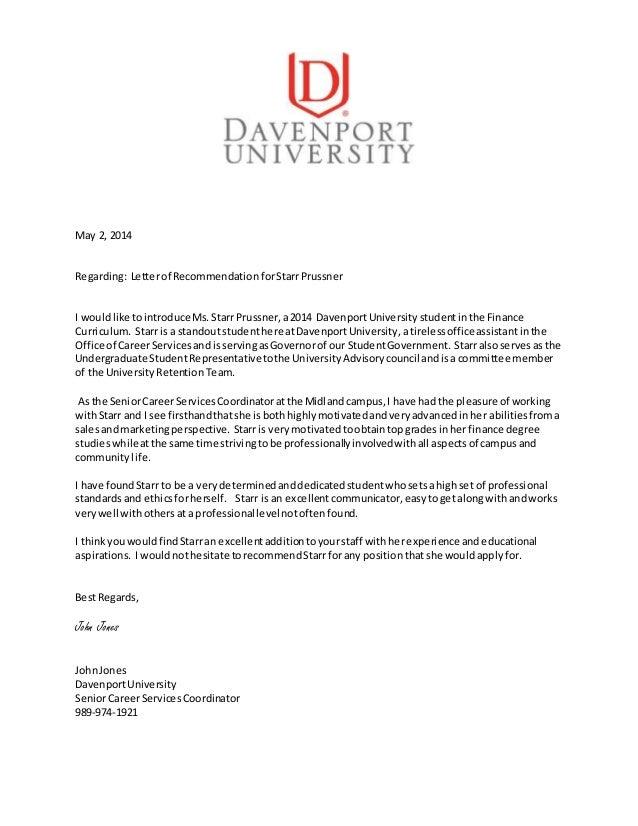 Letter Of Recommendation Starr Prussner