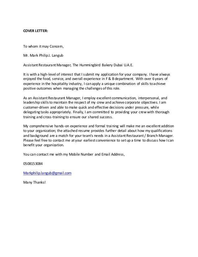 Mr. Mark Philip Cover Letter