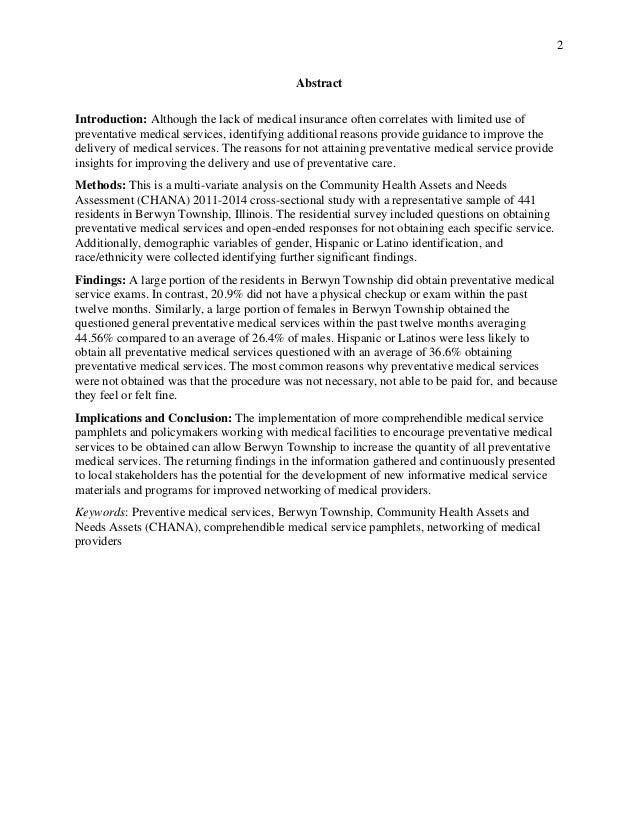 UtilizationofPrevenativeMedicalServices_Compliance_BerwynIllinois_LauraEMillerMPH Slide 2