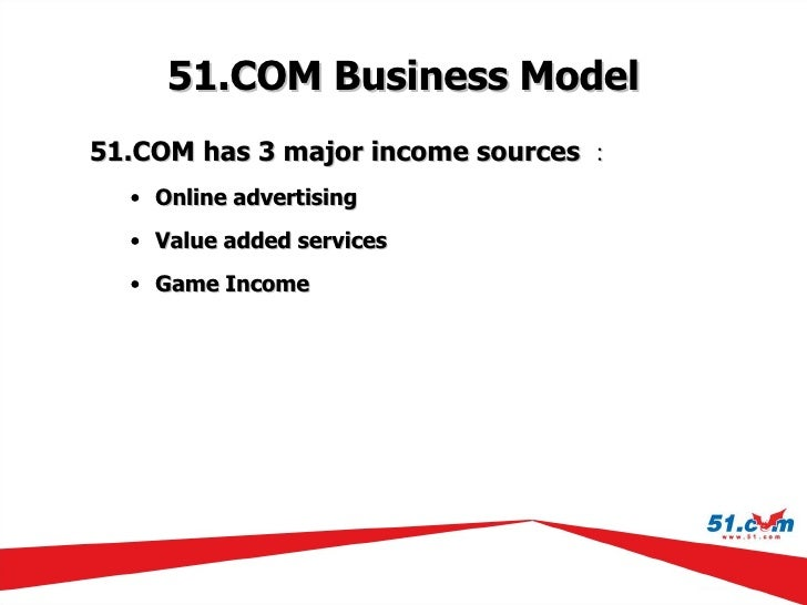 51.COM  Business Model <ul><li>51.COM has 3 major income  sources : </li></ul><ul><ul><li>Online advertising </li></ul></u...