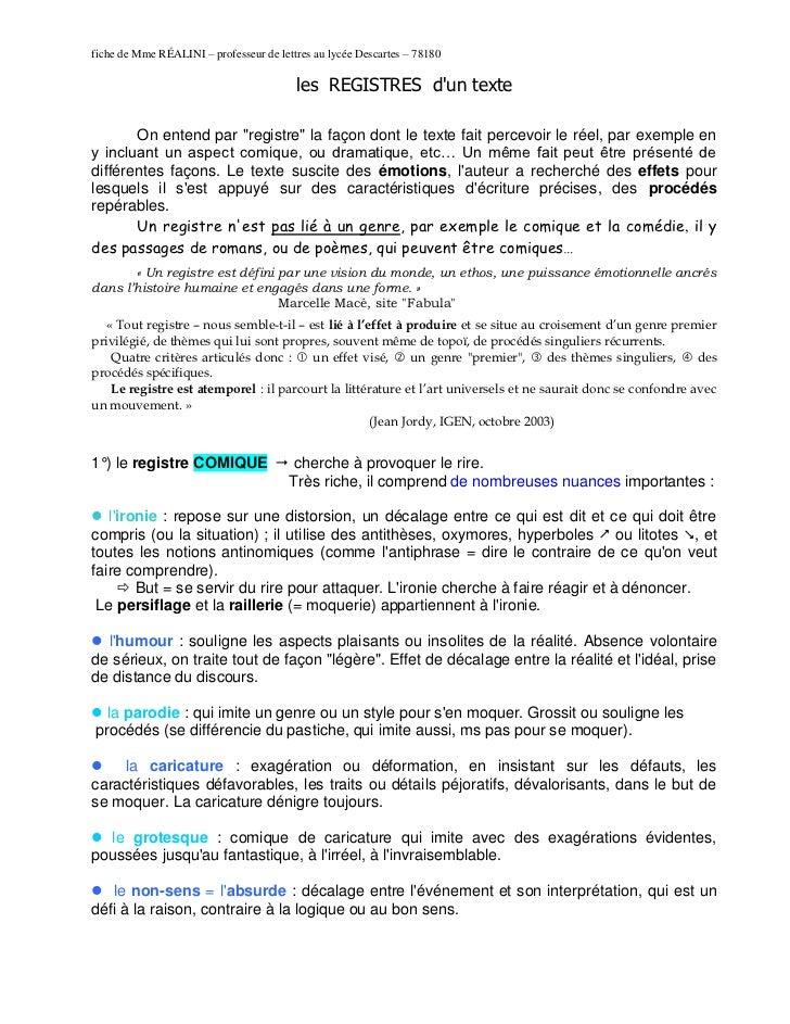 fiche de Mme RÉALINI – professeur de lettres au lycée Descartes – 78180                                         les REGIST...