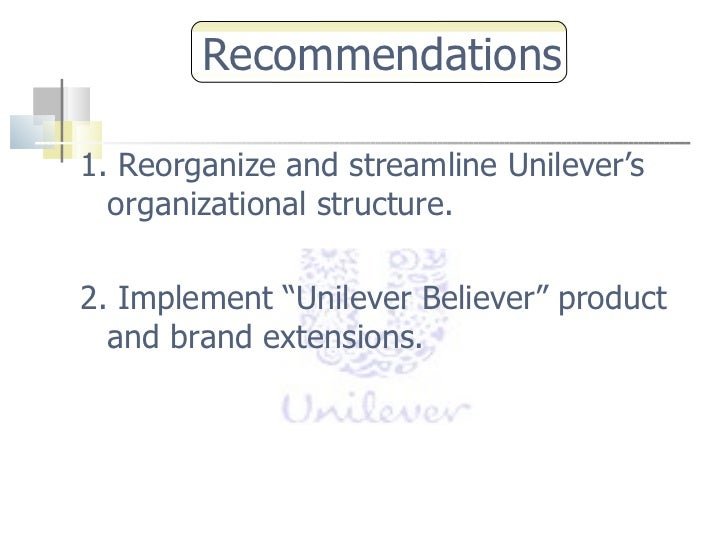 recommendations for unilever Unilever's work on improving nutrition supports  meeting hns – a more stringent approach by unilever based on national nutritional recommendations – is a .