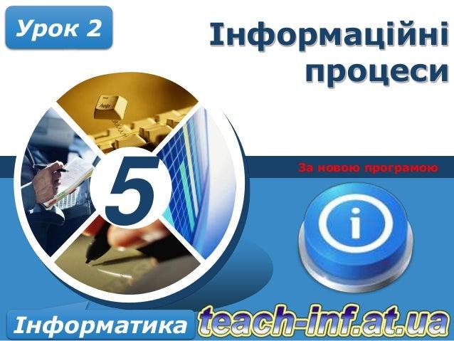 Урок 2  5 Інформатика  Інформаційні процеси За новою програмою
