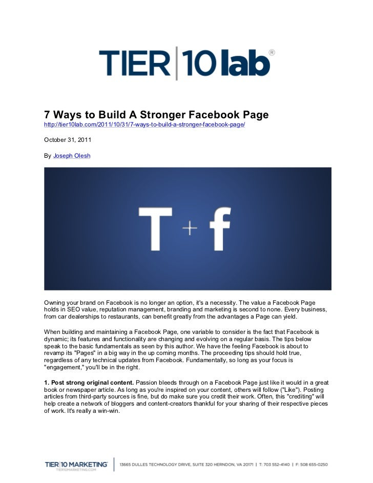 7 Ways to Build A Stronger Facebook Page http://tier10lab.com...
