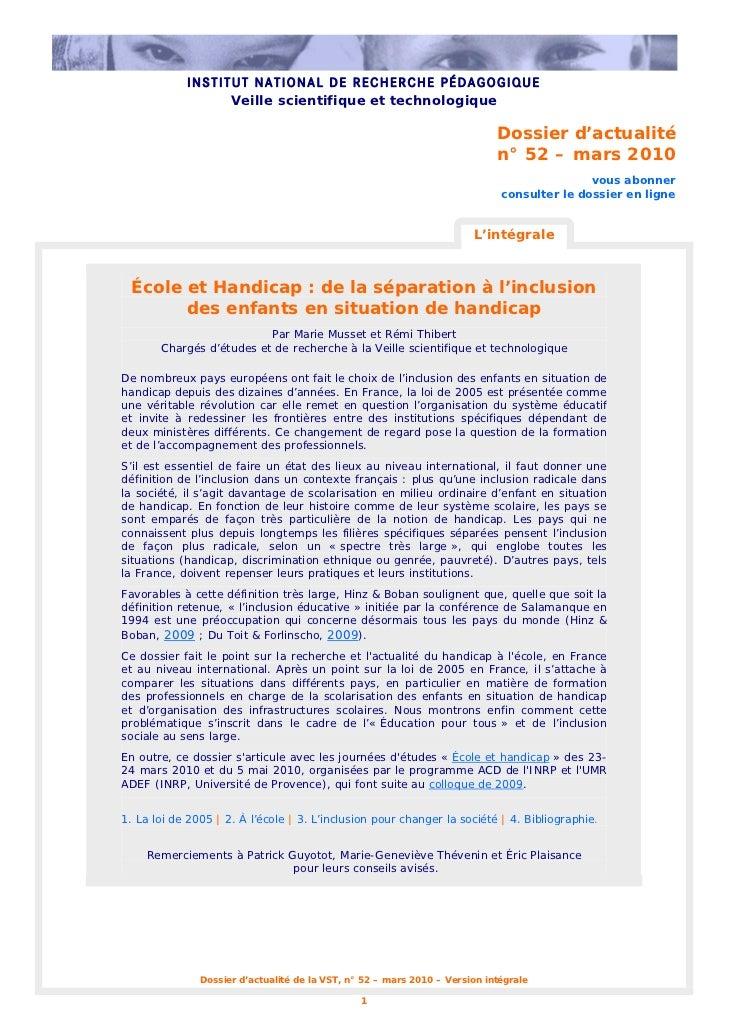 INSTITUT NATIONAL DE RECHERCHE PÉDAGOGIQUE                  Veille scientifique et technologique                          ...