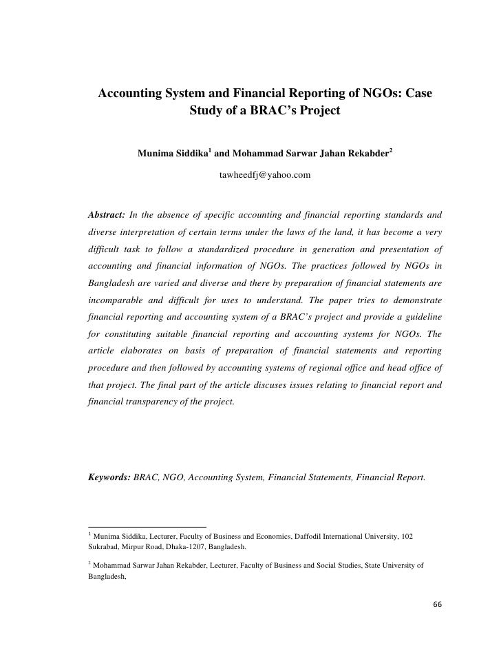 Accounting System and Financial Reporting of NGOs: Case                    Study of a BRAC's Project                      ...