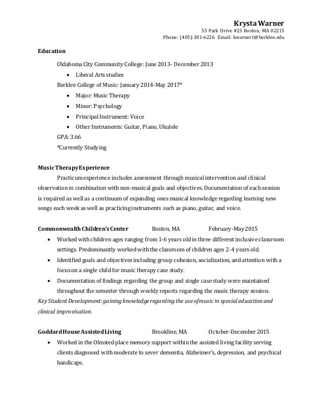Music Therapy Resume – Music Resume
