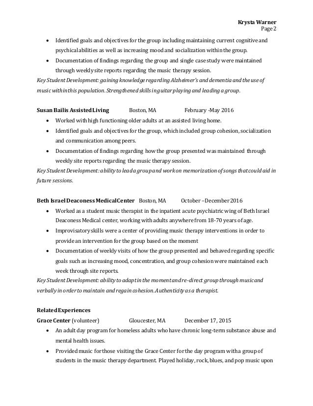 music therapy resume