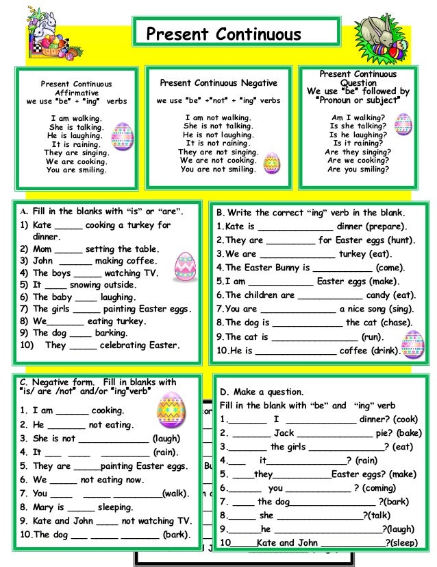184 FREE Present Simple vs. Present Continuous Worksheets