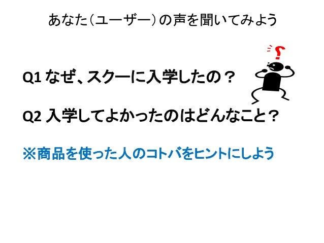 Q1 なぜ、スクーに入学したの? Q2 入学してよかったのはどんなこと? ※商品を使った人のコトバをヒントにしよう あなた(ユーザー)の声を聞いてみよう