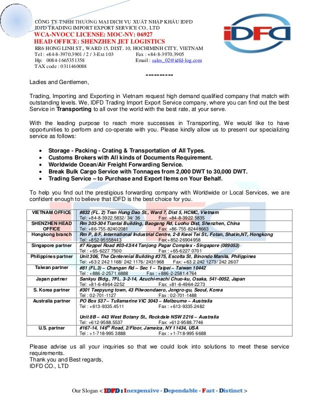 IDFD BRIEF SUMMARY LETTER - LOCAL ENG