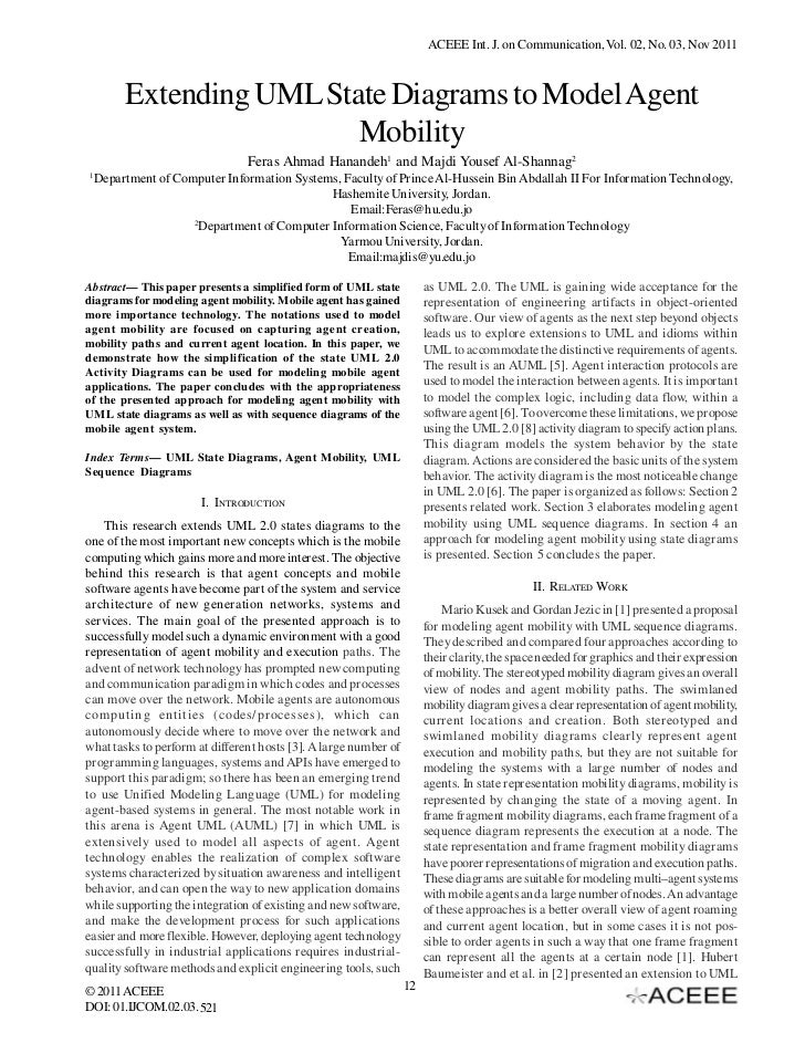 ACEEE Int. J. on Communication, Vol. 02, No. 03, Nov 2011         Extending UML State Diagrams to Model Agent             ...