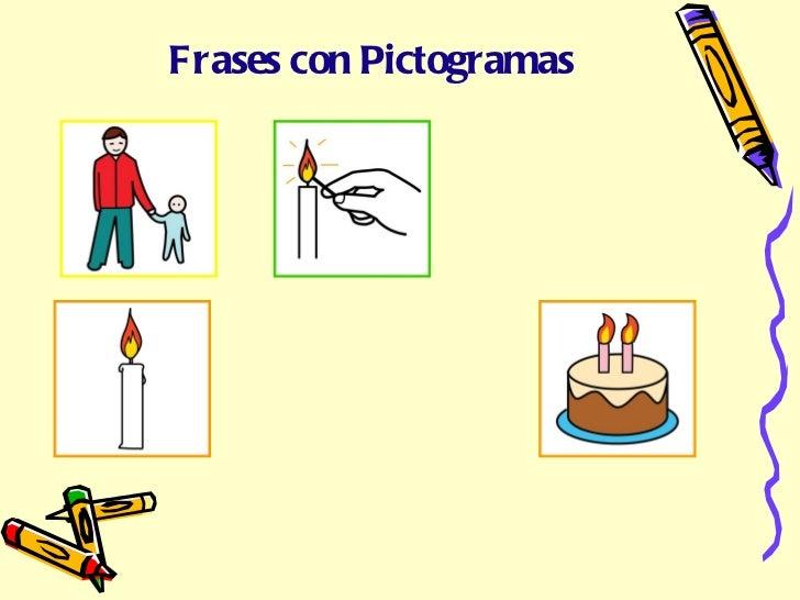 de la la Frases con Pictogramas Papá enciende la vela de la tarta